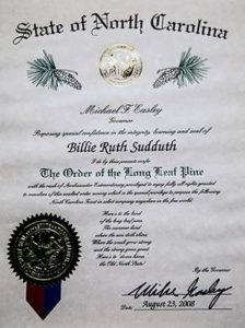 Photo of Billie Ruth Sudduth's Order of the Long Leaf Pine Award