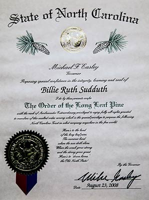 Photo of Billie Ruth Sudduth's Order of the Long Leaf Pine Award