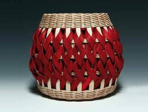 Penland Pottery Basket in Walnut and Red by Billie Ruth Sudduth
