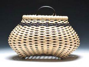 Photo of Billie Ruth Sudduth's Shaker Cat's Head Wall Basket in Black and Walnut