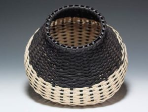 Photo of Billie Ruth Sudduth's Signature Basket with Black Overlay tilted to show detail